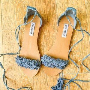 Steve Madden Fringe Lace-up Sandals 7.5